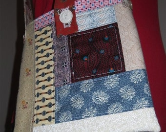 DESTASH - Small Quilted Sock Knitting Tote from Civil War repro fabrics