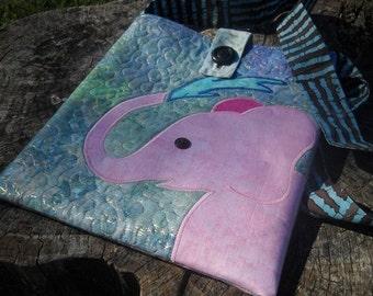 DESTASH - Pink Elephant Quilted Appliqued Batik Tote Handbag Purse