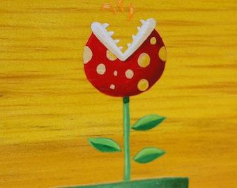 Mario's Foes: Piranha Plant - Original Nintendo Mini-Painting
