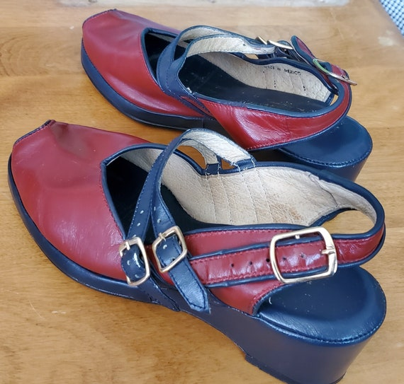 Remix 40s Twin Strap Blue and Red Shoes