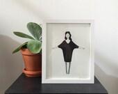 girl in black dress / black and white print
