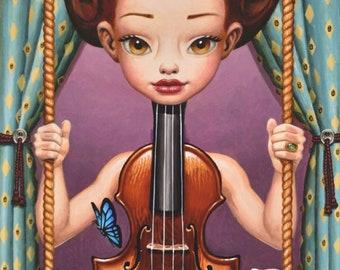 Canvas Giclee Fine Art Print Viola Pop Surrealism Music Wall Art