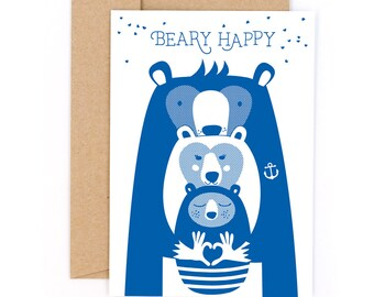 Beary Happy #1540 Letterpress card with envelope
