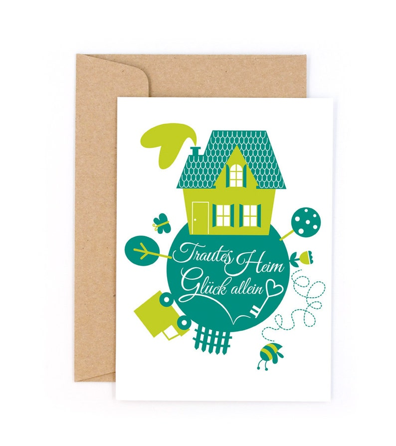 Home Sweet Home Wedding #1430 Letterpress card with envelope