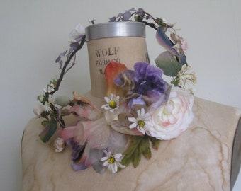 Flower crown, Vintage Millinery Flowers, Floral Wreath, Purple, Vine wreath, Boho Headpiece, Flower Circlet,Full Wreath, Bridal Headpiece