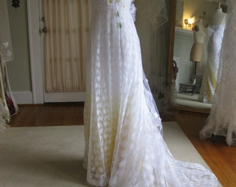 Yellow Daisy Lace Wedding Dress With Train Boho Ombre DressBeach Casual
