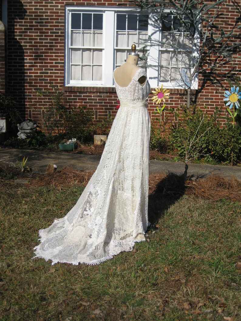 Ivory Champagne Hippie Lace Collage Wedding Gown One of a KIND image 0