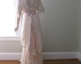 Romantic wedding dress, Vintage wedding gown, Pink wedding dress, 1920's inspired wedding dress, Downton Abbey style, Boho Wedding Dress