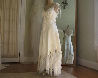 Leather and Lace Wedding Dress, Boho Wedding Dress, Hippie Wedding Dress,Leather Dress, Unique dress, One of a Kind, Western Wedding Dress