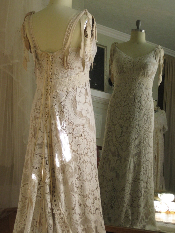 Boho Lace Wedding Gownlace And Leather Boho Wedding Dress Etsy