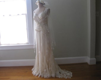 Boho Wedding Dress, Lace Skirt and Corset, Lace Corset, Unique Wedding Dress, Antique lace Wedding dress, Lace Gown