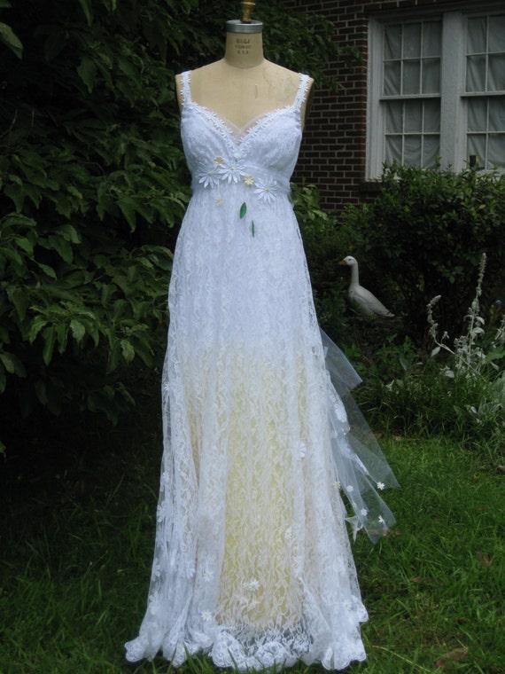 Yellow Daisy Lace Wedding Dress Boho Wedding Dress Hippie   Etsy