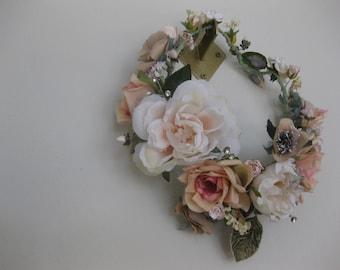 Full Flower crown, Blush Roses, Floral Wreath, English Garden Wreath,  Boho Headpiece, Vintage, Bridal Headpiece, Pink, Hand Fasting