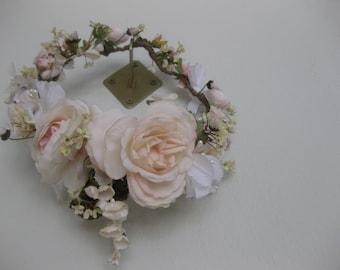 Flower crown, Blush Roses, Floral Wreath, English Garden Wreath,  Boho Headpiece, Vintage, Full Wreath, Bridal Headpiece, Pink, Hand Fasting