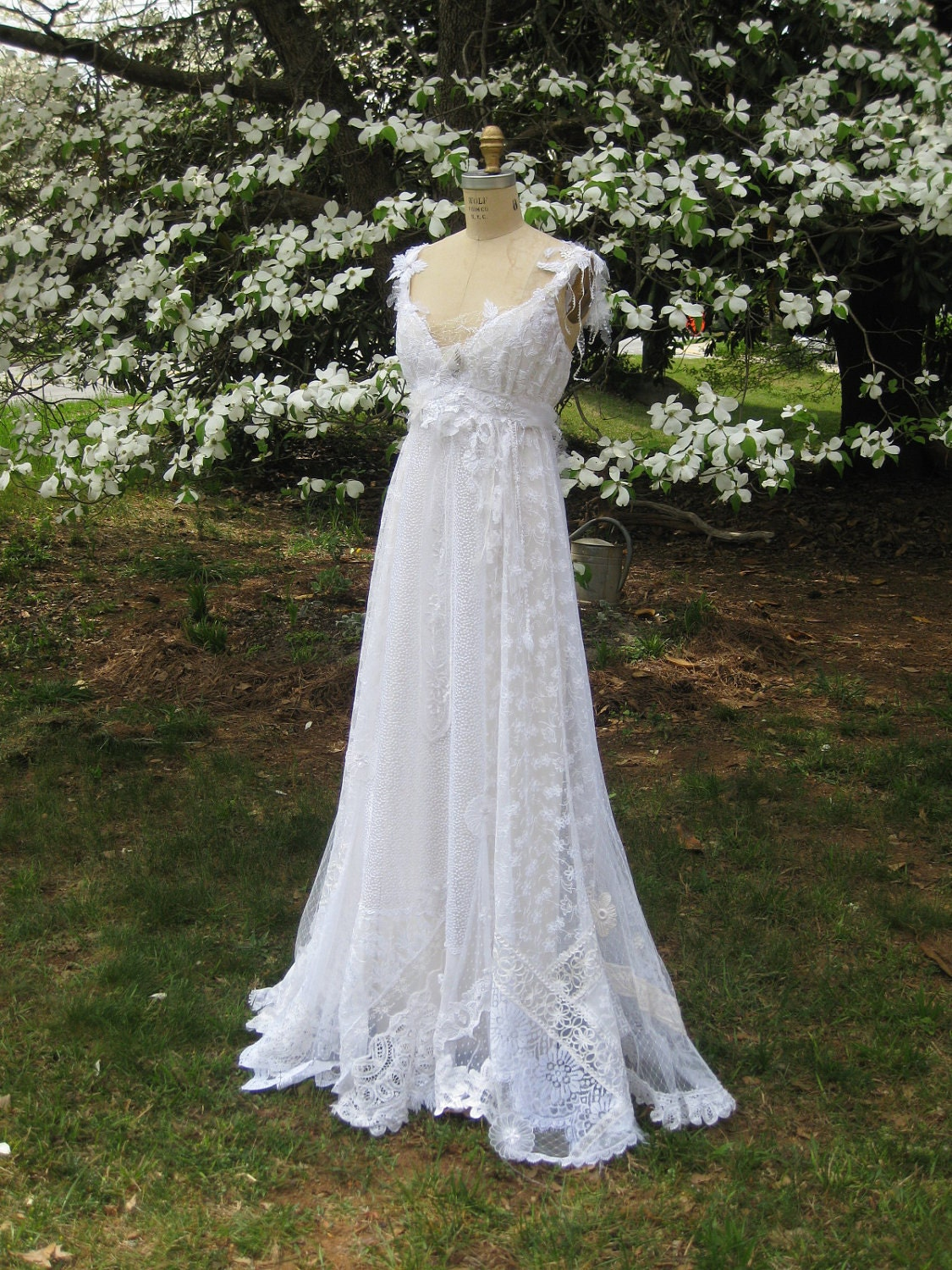 Hippie Lace Collage Gown One of a Kind Boho Wedding Dress ...