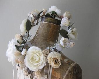 English Garden Wreath with Ribbon streamers, Flower crown, Floral Wreath, Blush Flowers, Ivory Flowers, Boho Headpiece