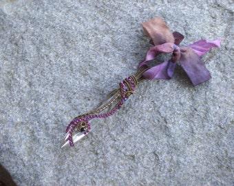 Wire Wrapped Chandelier Prism  ornament, window display or pendant  bronze garnet iridescent