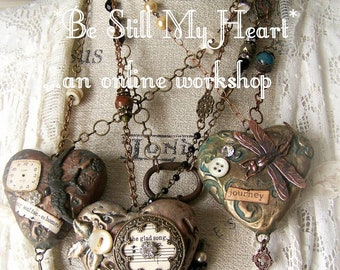 Altered Heart Pendant (Chains Not Included) Handmade DIY Online Workshop Online Tutorial Vintage Mixed Media  Instructional Video Download
