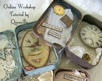 Altered Tin Shadowbox Handmade DIY Online Workshop Online Tutorial Vintage Mixed Media Vintage Handmade Instructional Video Download QueenBe