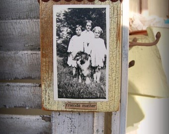 Antique Photograph  Altered Friends Photograph Antique Dog Antique Reclaimed Barn Wood Assemblage Barnwood Art Antique Photograph Dog Photo