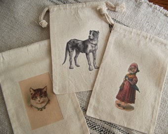 Set of 3 Muslin Drawstring Fabric Gift Bags Reusable  Bags Vintage Dog Cat Theme Jewelry Storage Shelf Display Instant Collection