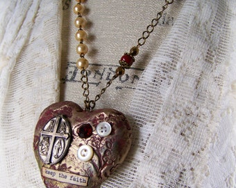 Mixed Media Religious Necklace Altered Gypsy Jewelry Altered Necklace Vintage Crucifix Red Mixed Media Vintage Gypsy Necklace Heart Pendant
