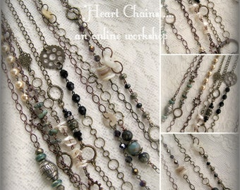 Heart Chains Altered Chain Handmade DIY Online Workshop Online Tutorial Vintage Jewelry Tutorial Instructional Video Download QueenBe