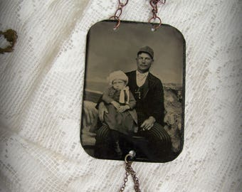 Antique Tintype Necklace Vintage Child Tintype Photograph Necklace Altered Jewelry Gypsy Style Altered Necklace Antique Dog Photograph