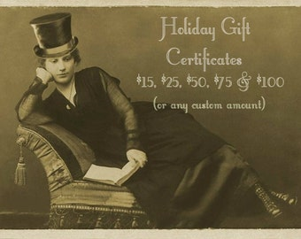 Gift Certificate Holiday Gift Card QueenBe Mixed Media Art Vintage Altered Art Custom Gift Christmas Gift Certificate Vintage Lover Gift
