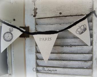 Handmade Paris Banner Canvas Bunting Vintage French Decor Shabby White Decor Handmade Paris Black White Decor Fabric Banner Vintage Paris