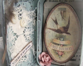 Altered Altoid Tin Assemblage Collage Altered Art Tin Vintage Bird Original Bird Art Vintage Style Vintage Mixed Media Found Object Art