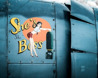 She's the Boss, Classic Pinup Wall Art Print, Airplane Nose Art on a Navy Avenger torpedo Bomber