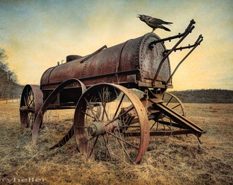 On the Water Wagon, Agricultural Relic, Antique Machinery, Horse drawn water cart, color art photography print