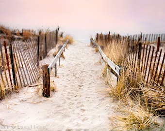 Love, Footprints in the Sand, Romantic Sunset Color Photography, Romantic Gift, Signed Print, Free Shipping