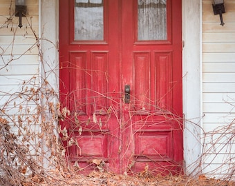 The Old Red Doors on the Abandoned House, Vertical format Color Photograph, Charming Red Front doors, Signed Print