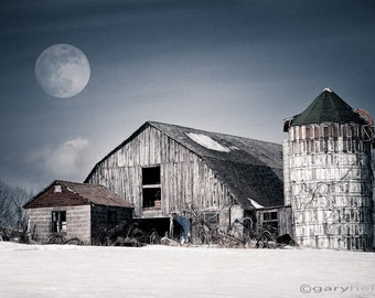 Old Barn - Winter Moon, Rustic Landscape Snow, Moonlight, Silo, White, Blue, Barn Photography, Fine Art Color Photography