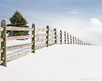 Wood Fence Rustic Winter Snowy Landscape in the Country, Color Photograph Signed Print, Free Shipping