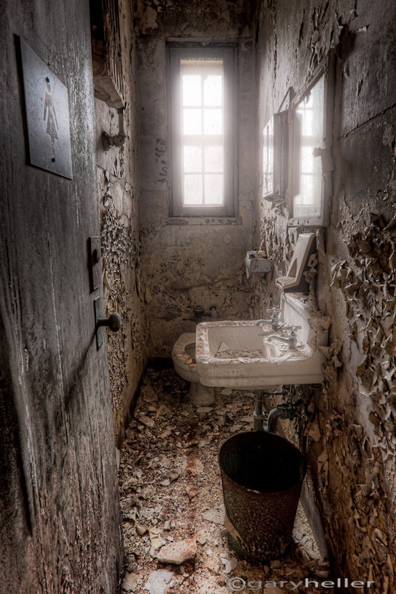 Old Abandoned Ladies Room Old Toilet Bathroom In Asylum Etsy