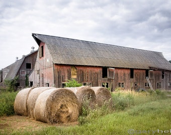 Old Barns, Hay Bales, Rustic Landscape, Fine Art Color Photography, Free Shipping, Signed Print