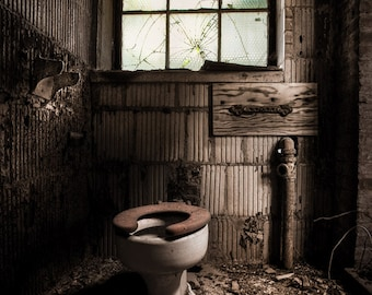 Abandoned Places, Old Toilet, Bathroom Art, Urban Exploration, Color Photograph of an old toilet in abandoned building, Signed.