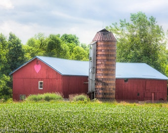 Love Barn Photography - Romantic Rustic Landscape, Signed Print, Old Barn, Love Shack, Colorful Dreamy Nature Photography