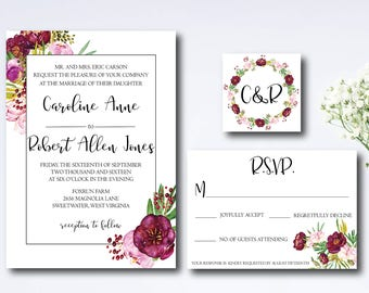 Wedding Invitation Suite, Romantic, Wine Colored, Floral, Invitation, RSVP and Monogram, Printable, Personalized, DIY,