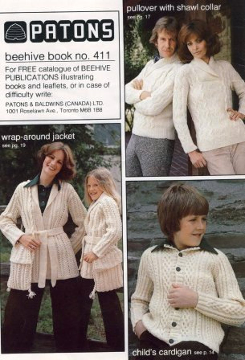 6da9f27443c96 Family Sweaters and Accessories Knitting Pattern Book (beehive book no. 411  the aran look)  Very Good  USED