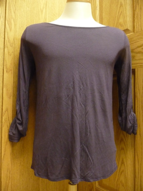 Express Women's Rayon/Polyester Wine Top (USED)