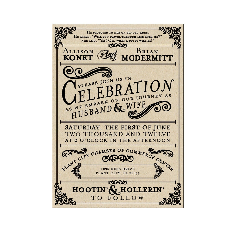 French Vintage Wedding Invitations: Rustic Wedding Invitations Vintage Antique Victorian