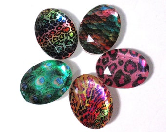 Custom Order Only Animal Print Jewel Cabochon 1 1/2 Inch Oval Rainbow Cheetah Mermaid Scales Jewelry Making Bow Center Phone Case Decoden A2