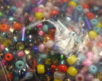 Vintage Seed Bead Stew 1 1/4 Pounds of Glass Beads in Multi Color Destash Vintage to New  A10