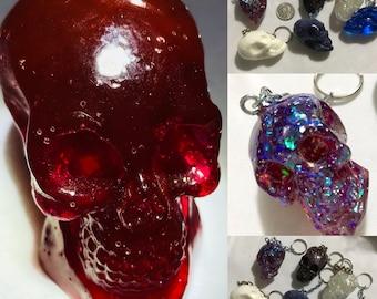 Portable Skull Acrylic Sun Catcher Key Chain Fan Pull Ornament Decoration Pendant Hangy Thing Object De Art Faux Stone Custom Colors D4