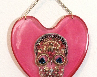 Hot Pink Reclaimed Sugar Skull Heart Acrylic Sun Catcher Day of The Dead Stained Glass Decoration Pendant Hangy Thing Object De Art D1
