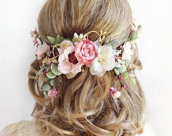 floral bridal headpiece, bridal headpiece flower, floral wedding hair piece, rose gold hair piece, bridal flower hair, mauve, dusty pink